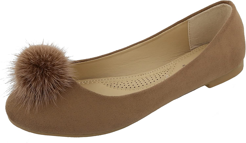 Top Moda Women's Mink Fur Pom Pom Closed Toe Ballet Flat