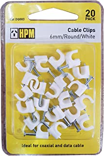 HPM DQ003 6mm White Cable Clips Accessory - Cable clips round type Pack of 20 6mm white