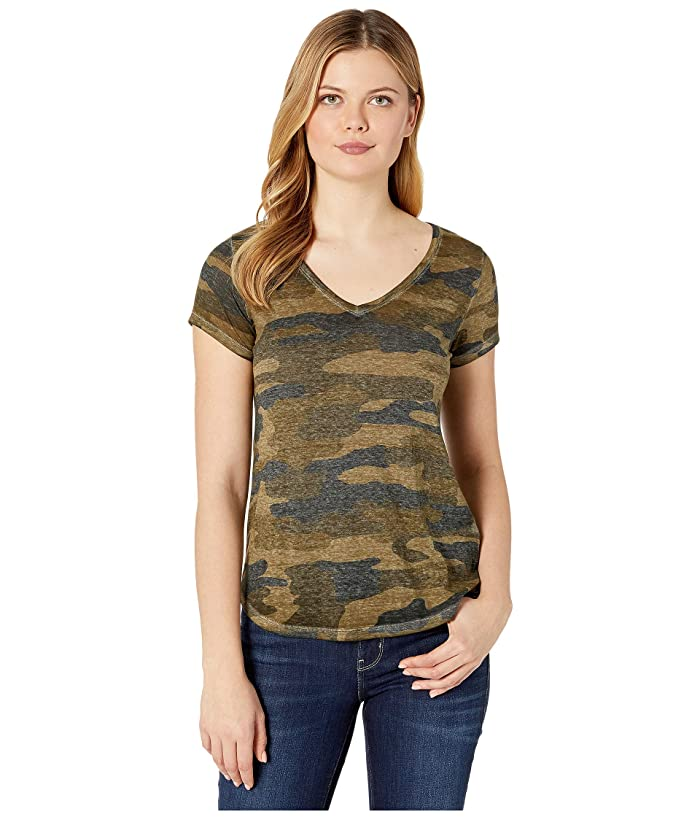 Lucky Brand  Camo Burnout Tee (Green Multi) Womens T Shirt