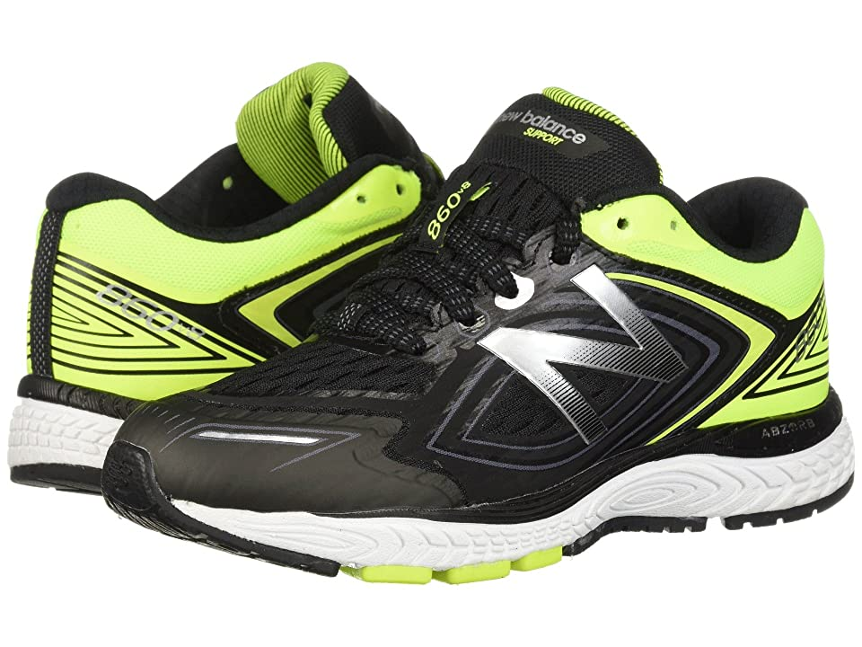 New Balance Kids KJ860v8Y (Little Kid/Big Kid) (Black/Hi-Lite) Boys Shoes