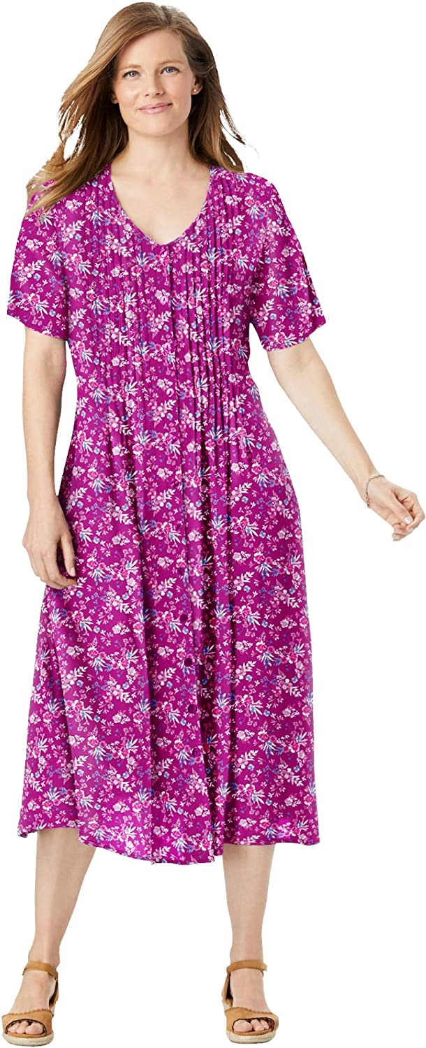Woman Within Women's Plus Size Short-Sleeve Button-Front Dress