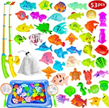 Fishing Game for Kids - Magnetic Fishing Toy for Toddlers, 53 PCS Plastic Floating Fishing Bath Toys Set for Kids Bath Time, Learning and Education Toys for Children