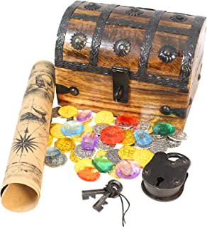 Locking Pirate Treasure Chest Box Lock Key 32 Metal Coins Gems Map Wooden Decorative Box By Well Pack Box