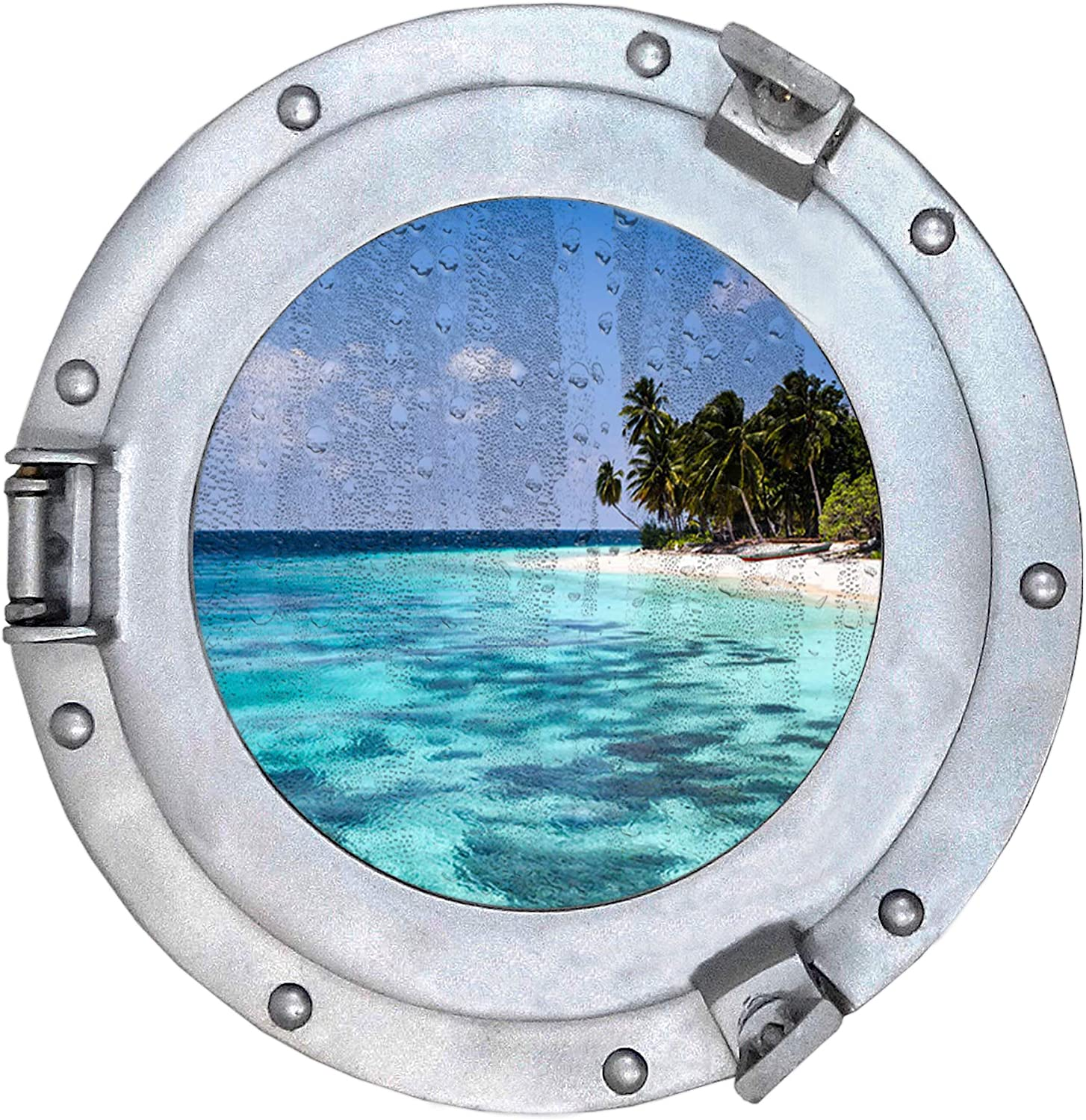 Nautical Round Ship Porthole Windows - Maritime Nautical Home Decor Boat Fan Gift (Silver Glass)