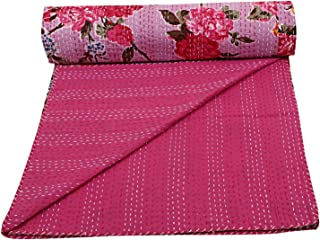 Janki Creation Queen Pink Floral Kantha Bedspread Throw Blanket Hippie Queen Cotton Kantha Quilts Bohemian Hand Stitched Indian Coverlets