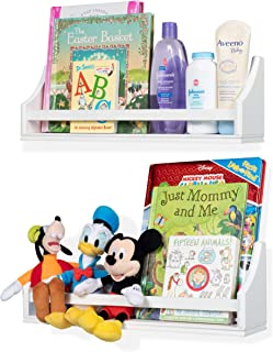 brightmaison Set of 2 Nursery Room Baby Kids Wall Shelf Sturdy Wood Short 20
