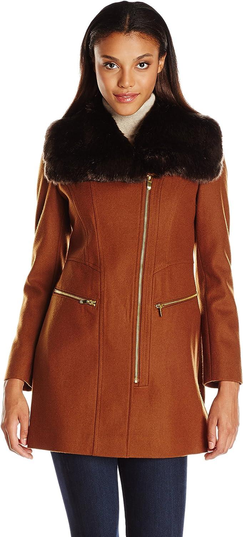 Via Spiga Women's Asym Wool Coat with Oversized Faux Fur Collar