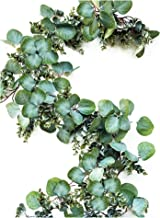 Eucalyptus Garland - Full Natural Looking 6.5 foot Faux Artificial Greenery Garland Eucalyptus for Wedding, Mantle, Farmhouse, Rustic with Textured Boxwood, Twig Vines Green Garlands Decorations