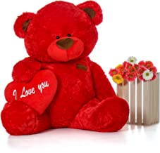 Giant Teddy Original Brand - Biggest Collection of Super Soft Stuffed Teddy Bears (Pillow Heart Included) (Ruby Red, Life-Size)