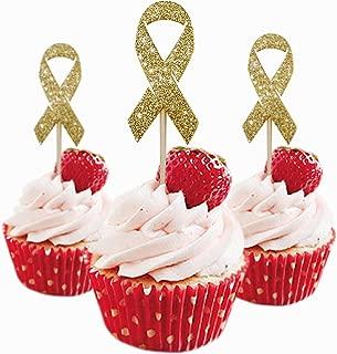 Cancer Ribbon Cupcake Topper 12 pieces per Pack Cupcake Topper Decoration Glitter Foamy Gold