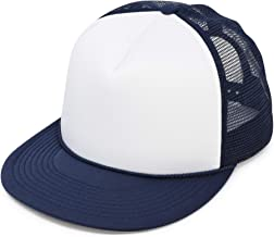 DALIX Flat Billed Trucker Hat Mesh Back S M L Adjustable Cap Solid Two Toned Snapback