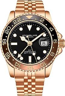 Stuhrling Original GMT, orologio da uomo in acciaio inox, movimento al quarzo svizzero, doppio orario, datario rapido con ...