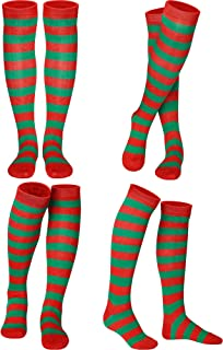 4 Pair Women Girls Colorful Striped Knee Socks High Witch Knee Socks High Socks