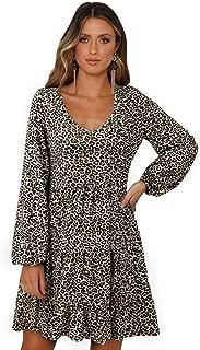 SOLERSUN Women's Casual Leopard Tunic Dress Long Sleeve V Neck Loose Swing Babydoll Dresses