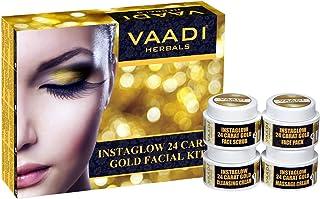 Vaadi Herbals Gold Facial Kit 24 Carat Gold Leaves, Marigold Wheatgerm Oil and Lemon Peel Extract, 70g
