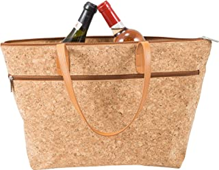 Primeware Libation Discreet 2-Bottle Wine Carrier   Hidden and Insulated Compartment with Divider to Protect Bottles (Cork Sassy)