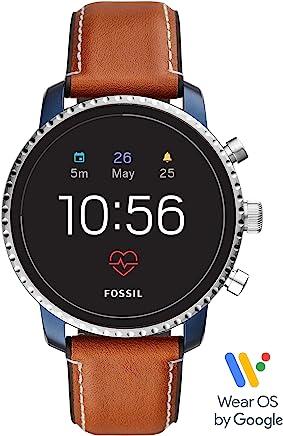 Fossil メンズ Gen 4 Q Explorist HR ステンレススチールとレザーのタッチスクリーンスマートウォッチ、カラー:ブルー、ブラウン(モデル:FTW4016)
