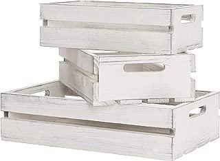 MyGift Vintage Whitewash Wood Nesting Storage Crates with Handles, Set of 3