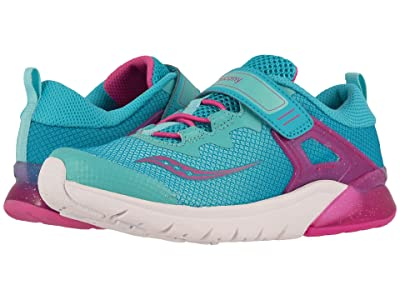 Saucony Kids Flash Glow A/C (Little Kid) (Turquoise/Pink) Girl