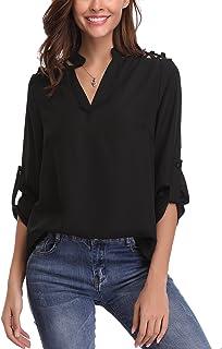 515cd0494a Abollria Camicia Donna Elegante Primaverile a Maniche Lunghe Regolabili e  Scollo V Blusa di Chiffon Leggero