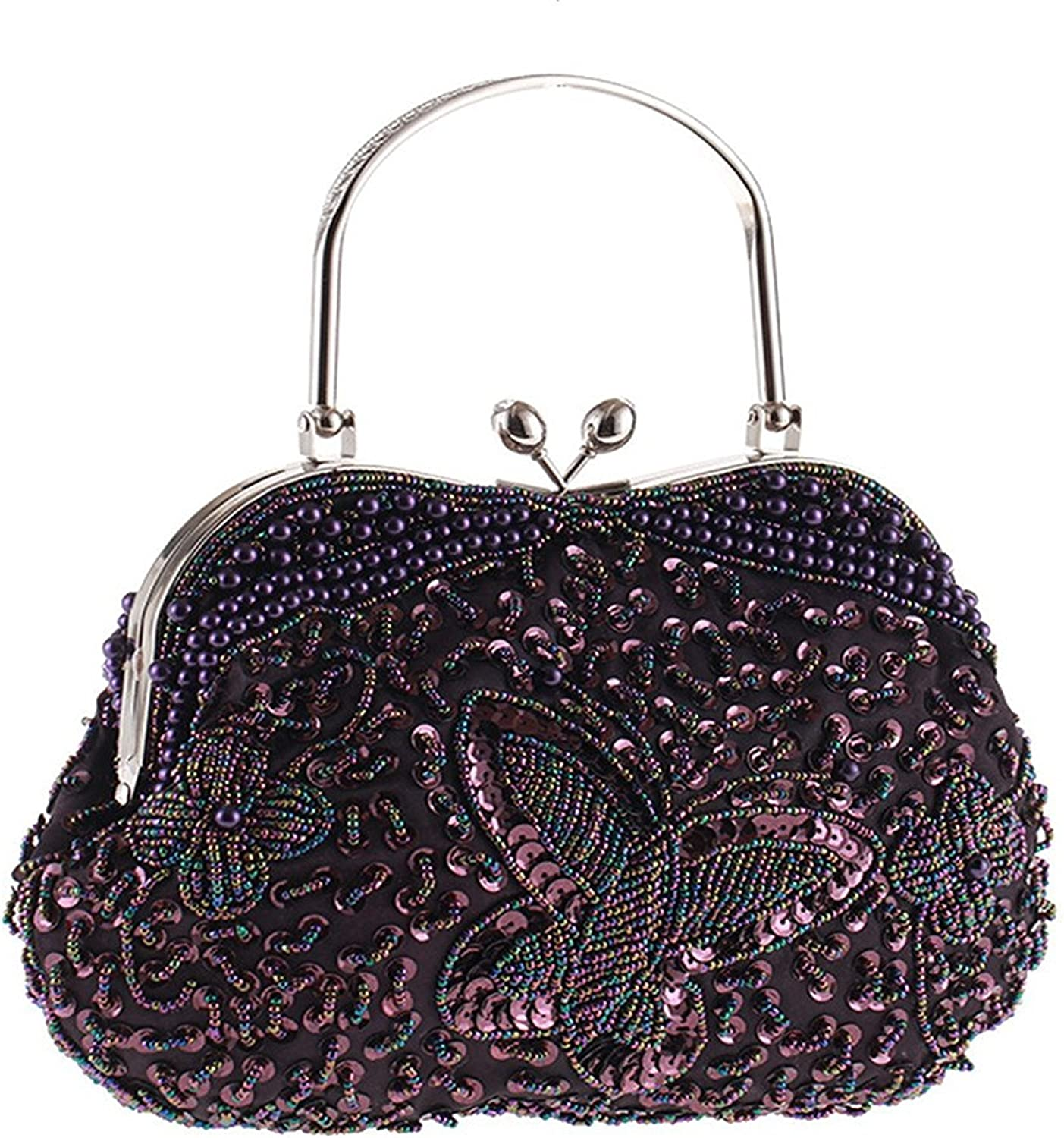 2017 Vintage Butterfly Beaded Kissing Lock Evening Clutch Metal Top-Handle Prom Formal Bag for Women