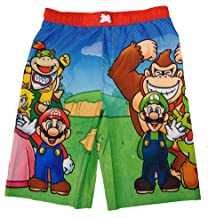 Super Mario Swim Trunks with Mario, Luigi, Yoshi, Bowser, Bowser Junior, Princess Peach, Toad, Donkey Kong, Toad, Koopa Troopa and Gumba (Big Boys Size Large)
