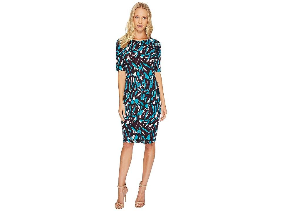 Ellen Tracy Printed Ponte Dress (Plum Multi) Women
