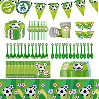 Cieovo Soccer Party Supplies Sports Themed Pack, Comes with Disposable Tableware and Birthday Party Decoration Set, All-In-One Value Kit, Perfect for All Party. Includes 10 Varieties 106 Pieces