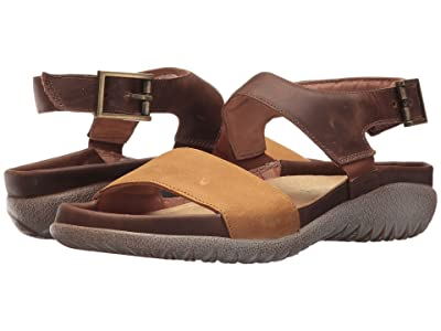 Naot Haki (Oily Dune Nubuck/Saddle Brown Leather) Women