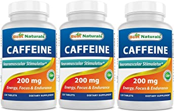 3 Pack Best Naturals Caffeine Pills 200mg Tablets – Non Habit – Proven No Crash or Jitters – Total 360 Tablets Estimated Price : £ 14,95