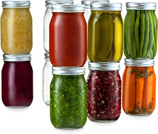Glass Regular Mouth Mason Jars, 16 Ounce (12 Pack) Glass Jars with Silver Metal Airtight 1 Piece Lids for Meal Prep, Food ...