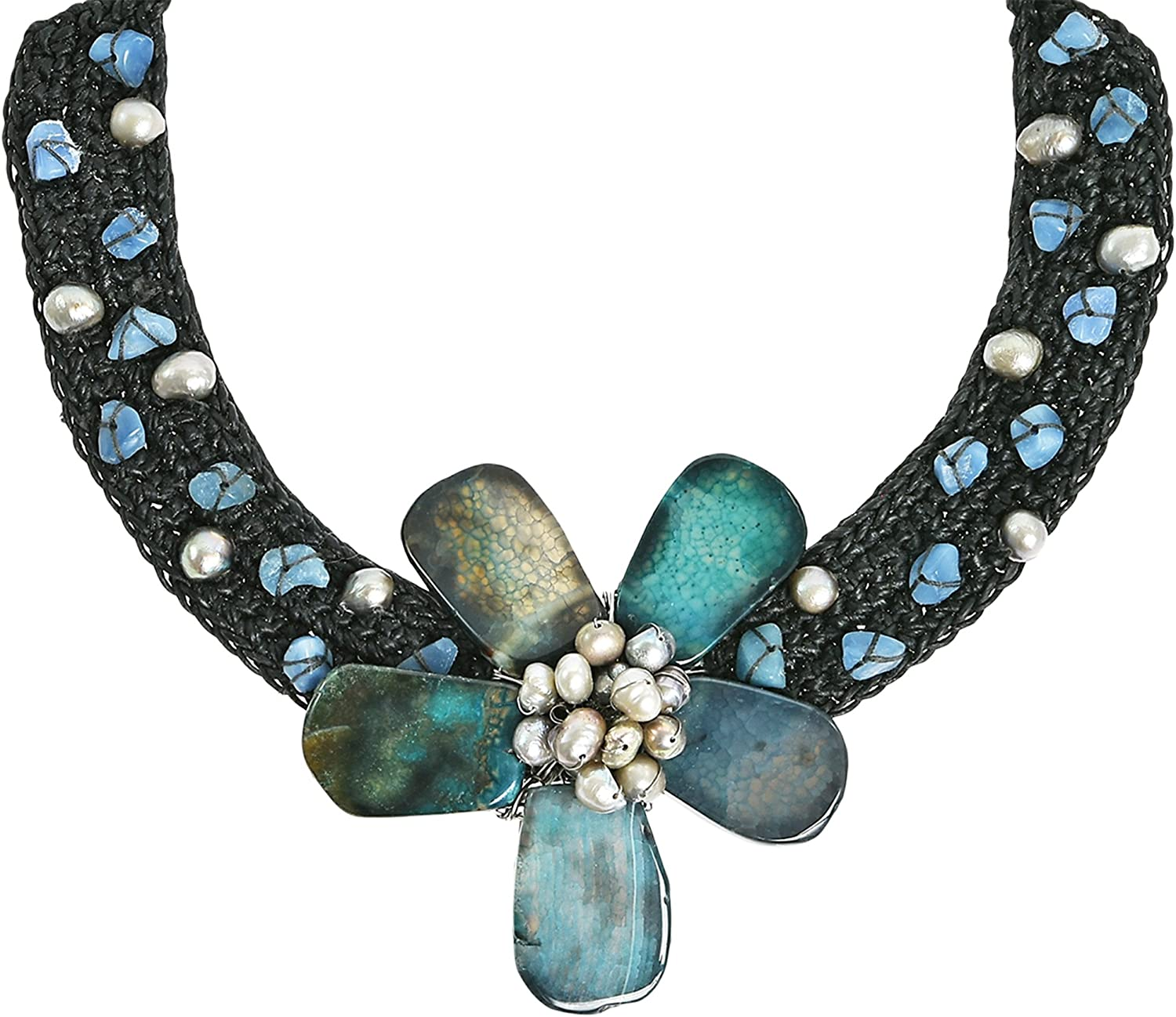 AeraVida Sweet Floral Motif Reconstructed Agate Cotton Wax Rope Collar Necklace