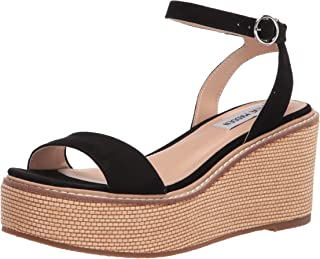 Steve Madden Women's Wedge Platform Sandal, Black, 8.5