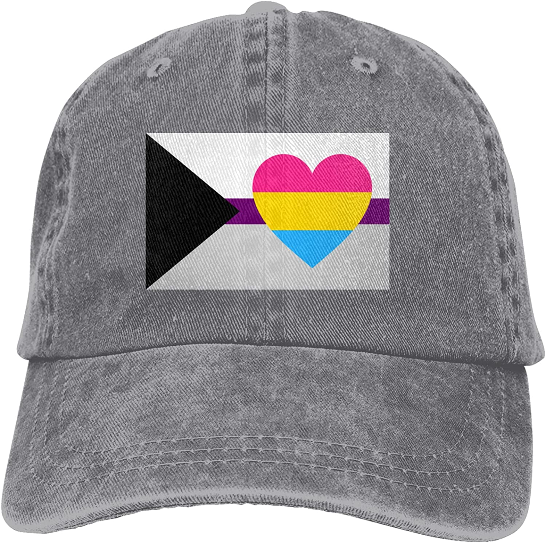 CUTEDWARF Demisexual Panromantic Pride Flag Unisex Adjustable Cotton Baseball Hat Cowboy Cap Dad Hats Denim Trucker Hat