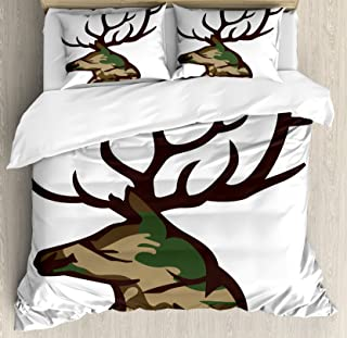 Antler Decor Queen Size Duvet Cover Set by Ambesonne, Stag Deer Portrait with Camouflage Pattern Hunting Decor Hobby Mammal, Decorative 3 Piece Bedding Set with 2 Pillow Shams, Brown Cocoa Green