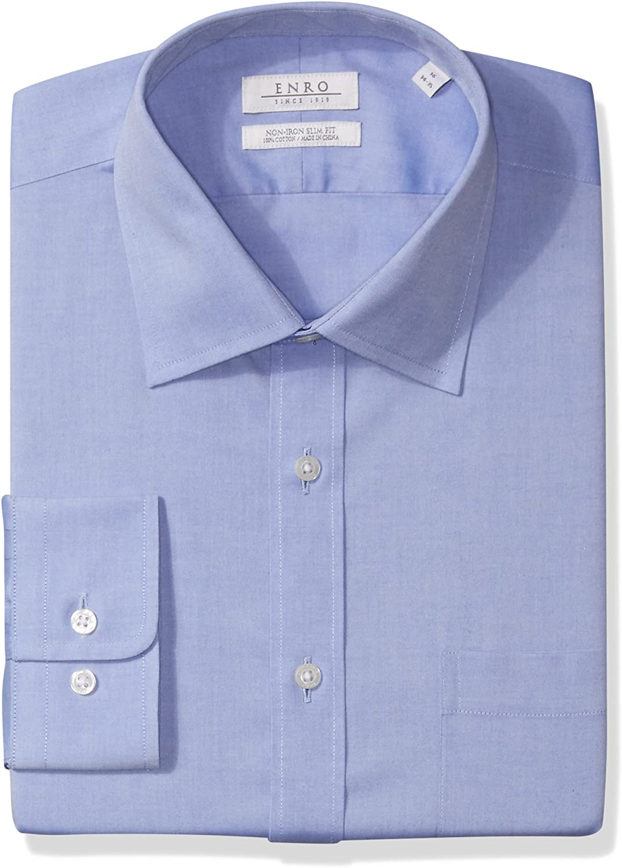 Enro Men's Non-Iron Slim Fit Pinpoint Oxford Dress Shirt