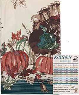 Fall Foliage Thanksgiving Vinyl Tablecloth Flannel Backed Autumn Harvest Pumpkins Turkey On a Cream Background Indoor Outd...