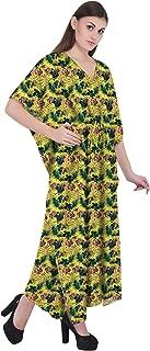 RADANYA Tropical Women's Casual Loose Maxi Long Kaftan Dress 3/4 Sleeve Cotton Caftan