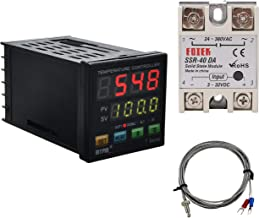 PID Temperature Controller Meter Indicator, Jaybva Digital Programmable Universal Thermostat Fahrenheit and C Display SSR and Alarm Output 40A Solid State Relay and Thermocouple Probe Included