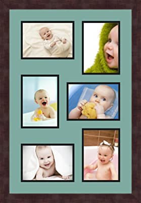 Art to Frames Double-Multimat-367-815//89-FRBW26061 Collage Frame Photo Mat Double Mat with 5-5x7 and 1-8x10 Openings and Espresso Frame