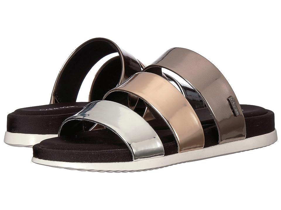 Calvin Klein Dalana Slide Sandal (Silver/Rose Gold/Pewter) Women