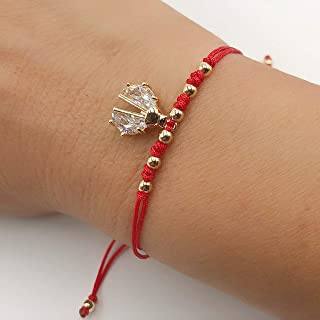 Lady Bug CZ Charm Red String Bracelet For Women