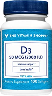 Vitamin D3 2000IU Softgel, Supports Bone Immune Health, Aids in Cellular Growth Calcium Absorption, Gluten Free Once Daily...