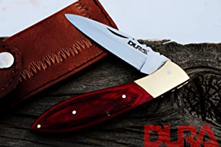 DURA KNIVES Dk-49 Red Wood 4'' inches Original Laguiole Folding Custom Handmade Stainless Steel Blade Pocket Knife 100% Prime Quality Plus Beautiful Brass Bolster Limited Edition