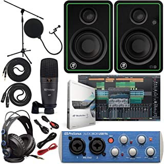 """Presonus AudioBox 96 Audio Interface Full Studio Bundle with Studio One Artist Software Pack with Mackie New CR3-X 3"""" Creative Multimedia Monitors and 1/4"""" Instrument Cables"""