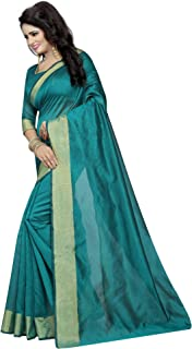 ETHNICMODE India Women's Cotton Silk Style Saree with Blouse Piece (Multi-Color_Free_Size) Monika Green NS
