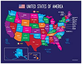 Map of United States for Kids - US Map with Capitals - American Map Poster - 50 States Map - North America Map - Laminated Educational Classroom Posters - 17 x 22 inches