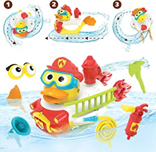 Yookidoo Jet Duck Firefighter Bath Toy with Powered Water Hydrant Shooter - Sensory Development & Bath Time Fun for Kids - Battery Operated Bath Toy with 15 Pieces - Ages 2+