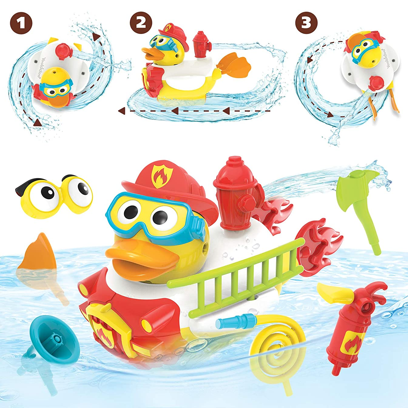 Yookidoo Jet Duck Firefighter Bath Toy with Powered Water Hydrant Shooter - Sensory Development & Bath Time Fun for Kids - Ages 2+