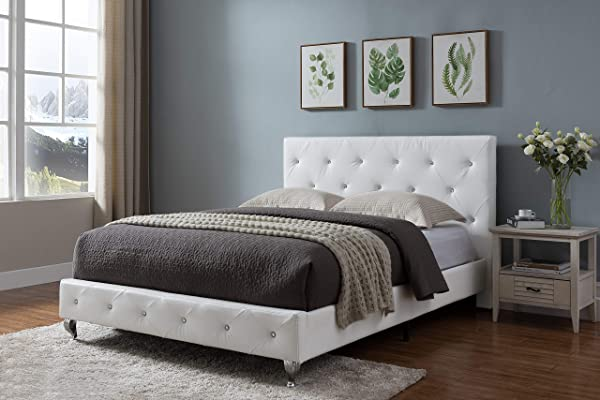 Kings Brand Furniture White Tufted Design Faux Leather Queen Size Upholstered Platform Bed